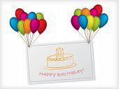 Birthday Card Design Hanging On Balloons