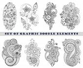 stock photo of mehndi  - Set of Henna Paisley Mehndi Doodles Abstract Floral Vector Illustration Design Element - JPG