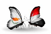 Two Butterflies With Flags On Wings As Symbol Of Relations Cyprus And Yemen