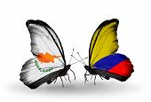 Two Butterflies With Flags On Wings As Symbol Of Relations Cyprus And Columbia