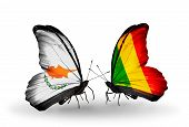 Two Butterflies With Flags On Wings As Symbol Of Relations Cyprus And Mali