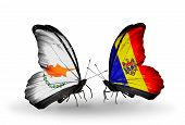 Two Butterflies With Flags On Wings As Symbol Of Relations Cyprus And Moldova
