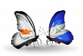 Two Butterflies With Flags On Wings As Symbol Of Relations Cyprus And Nicaragua