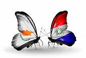 Two Butterflies With Flags On Wings As Symbol Of Relations Cyprus And Paraguay