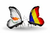 foto of chad  - Two butterflies with flags on wings as symbol of relations Cyprus and Chad Romania - JPG