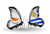 Two Butterflies With Flags On Wings As Symbol Of Relations Cyprus And Uruguay