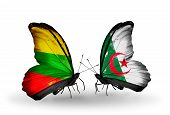 stock photo of algeria  - Two butterflies with flags on wings as symbol of relations Lithuania and Algeria - JPG