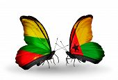 Two Butterflies With Flags On Wings As Symbol Of Relations Lithuania And Guinea Bissau