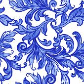 image of pattern  - Vector blue floral watercolor texture pattern with flowers - JPG