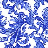 foto of pattern  - Vector blue floral watercolor texture pattern with flowers - JPG