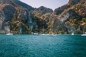 Sailboats In A Tropical Lagoon