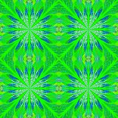 Symmetrical Pattern In Stained-glass Window Style. Blue And Green Palette. Computer Generated Graphi