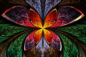 Multicolored Symmetrical Fractal Pattern As Flower And Butterfly In Stained-glass Window Style. Comp