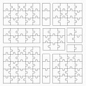 Jigsaw Puzzle Templates On White Background. Set Of Puzzle  Pieces