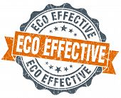 Eco Effective Orange Vintage Seal Isolated On White
