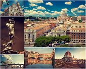 A collage of Italian cities of Rome and Florence