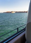 View Of Venice Lagoon From Inside The Train Carriage