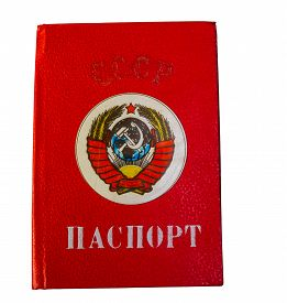 stock photo of passport cover  - USSR passport cover isolated on a white background - JPG
