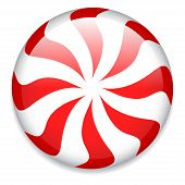 stock photo of peppermint  - Red and white round peppermint candy - JPG