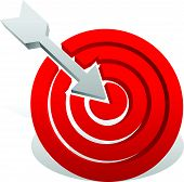 stock photo of bullseye  - Arrow in red target - JPG