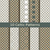 foto of celtic  - vector set of ten celtic traditional patterns - JPG