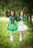 pic of wig  - Two young beautiful girl in irish dance dress and wig posing outdoor - JPG