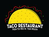 stock photo of tacos  - Logo for use in a design for a mexican or texmex restaurant or taco vendor - JPG