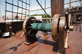 stock photo of galleon  - detail on traditional Portuguese galleon Melaka Malaysia - JPG