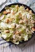 image of caesar salad  - Traditional Caesar salad with croutons and parmesan close - JPG