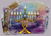 stock photo of menorah  - menorah with candles on abstract multicolor grunge background - JPG