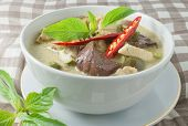 stock photo of curry chicken  - Delicious Thai Green Curry with Green Eggplant Chicken and Coconut Milk