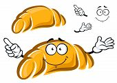 stock photo of croissant  - Happy freshly baked golden cartoon croissant character with a cute grin and waving arms with a second plain variant with no face and separate elements - JPG