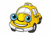 pic of cabs  - Cartoon taxi car character with yellow cab - JPG