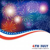 picture of firework display  - Fourth of July with firework Background vector - JPG
