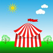 image of circus tent  - Circus Tent Icon on Blue Sky Background - JPG