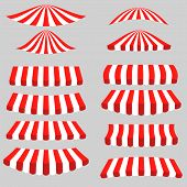 picture of canopy roof  - Set of Red White Tents on Grey Background - JPG