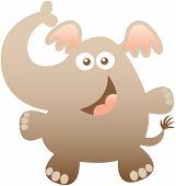 stock photo of enthusiastic  - Cute friendly elephant with bulging eyes - JPG