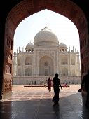 stock photo of mumtaj  - the taj mahal was built at agra uttar pradesh india by emperor shah jahan as a mausoleum for his wife mumtaj in 1631 ad - JPG