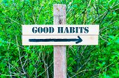 picture of  habits  - GOOD HABITS written on Directional wooden sign with arrow pointing to the right against green leaves background - JPG