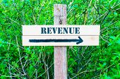stock photo of revenue  - REVENUE written on Directional wooden sign with arrow pointing to the right against green leaves background - JPG