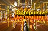 image of bing  - Background concept wordcloud illustration of compulsive overeating glowing light - JPG