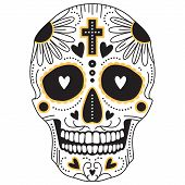 pic of sugar skulls  - Yellow and black vector isolated Mexican trditional sugar skull illustration for day of the  dead - JPG