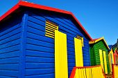 picture of beach hut  - Landscape with colorful changing huts on a beach in Muizenberg - JPG