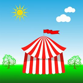 picture of circus tent  - Circus Tent Icon on Blue Sky Background - JPG