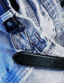Belt And Denim Jeans Close Up