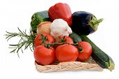 Vegetables on wicker tray