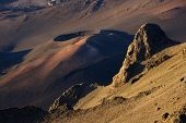 Aerial of dormant volcano with crater in Haleakala National Park, Maui, Hawaii.