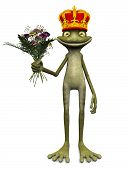 pic of prince charming  - A charming cartoon frog with a prince crown on his head and a bouquet of flowers in his hand - JPG