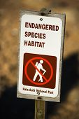 Endangered species habitat sign in Haleakala National Park in Maui, Hawaii.
