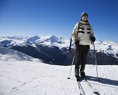 Caucasian senior man skier on slopes Whistler, British Columbia, Canada.